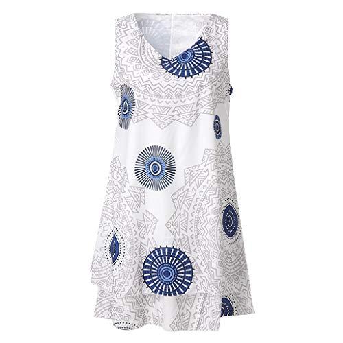 i-uend 2019 Kleid Damen Sommer, Mode Übergröße Drucken Midi-Kleid Verlieren Sie Shift Ärmelloses Tankweste Weste Sun Kleid (Mädchen Shift Kleider)