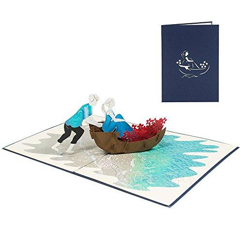 SweetPopup 3D Karten - Pop Up Glückwunschkarten Grußkarten Geburtstag Valentinstag Liebe Jubiläum Jahrestag Verlobung Urlaub Flitterwochen Hochzeitsreise (Paar & Boot) (Vietnam 3d)