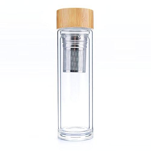 PARKWORKS 4in1 Teebereiter, Shaker, Trinkflasche und Fruchtinfuser to go - Doppelwandige 500ml Borosilikatglas Flasche mit Bambusdeckel