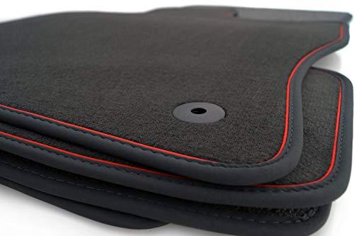 Fußmatten Golf 7 VII 5G Velours Automatten Premium, Nubuk Rotes Band, Schwarz, Original Befestigungsclips