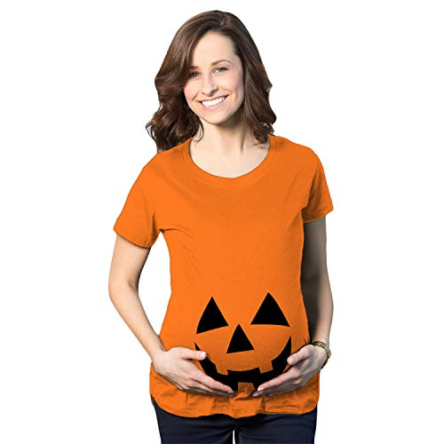 Crazy Dog Tshirts - Maternity Happy JackoLantern Pregnancy Tshirt Cute Halloween Baby Bump Tee (Orange) - M - Femme