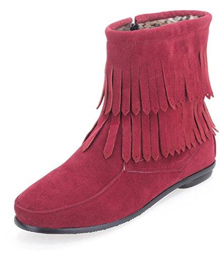 d4f19d9423f2 YE Damen Wildleder Flach Damen Stiefeletten mit 2 Schichten Fransen  Reißverschluss Bequeme Herbst-Winter Schuhe