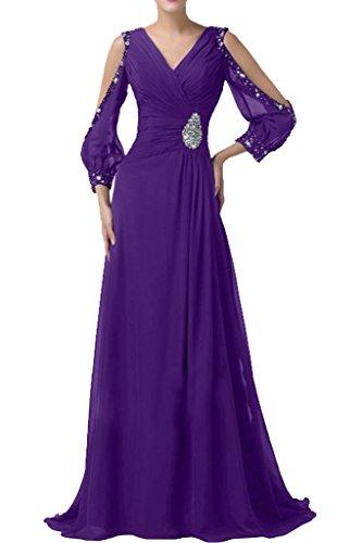 Sunvary Romantisch Neu Chiffon V-Neck Arm Steine Abendkleider 2016 Lang Mutterkleider Partykleider Violett
