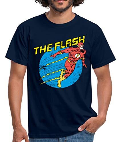 Der Blitz Kostüm Comics Dc - Spreadshirt DC Comics Justice League The Flash Männer T-Shirt, L, Navy
