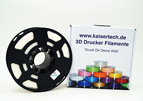 Kaisertech Filament für 3D Drucker 1kg PLA/ABS 1.75mm/3mm - Premium Qualität & verschiedene Farben für MakerBot RepRap MakerGear Ultimaker uvm. (PLA 1.75mm, Weiß)