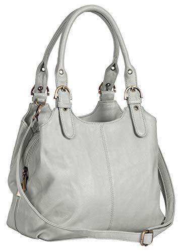 Big Handbag Shop Mehrfachtaschen Mittlere Größe Umhängetasche/Schultertasche für Frauen - Mit langem Schulterriemen und eine kleine Taschencharme (Hellgrau (Plain S104)) - Kleine Shoulder Tote