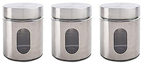 Prioritychef Thé, café, sucre, Lot de 3boîtes de verre en métal Overlay, couvercles hermétique avec couvercle à vis, Solution de stockage Idéale Silver