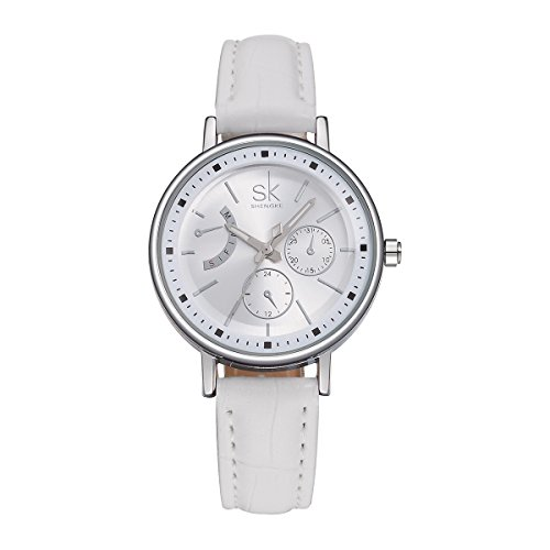 SHENGKE K0005L Damen-Edelstahl-Quarz-Uhr mit Hardlex Glas mehrfarbrigem Edelstahlarmband und Dornschließe