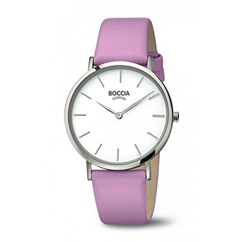Boccia Damen Analog Quarz Uhr mit Leder Armband 3273-03