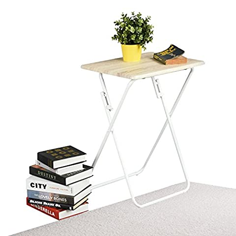 Aingoo Folding Table snack table Multi-Function Dinner Desk Wood and Metal Small Table for Home Office, Beech