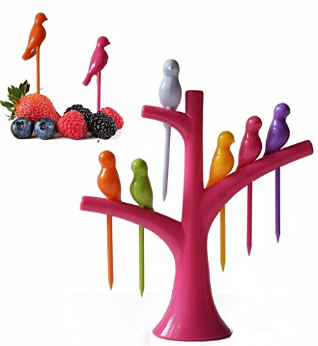 House of Quirk Birdie Fruit Fork in 6 Colorful Birds With Fork Stand  available at amazon for Rs.99