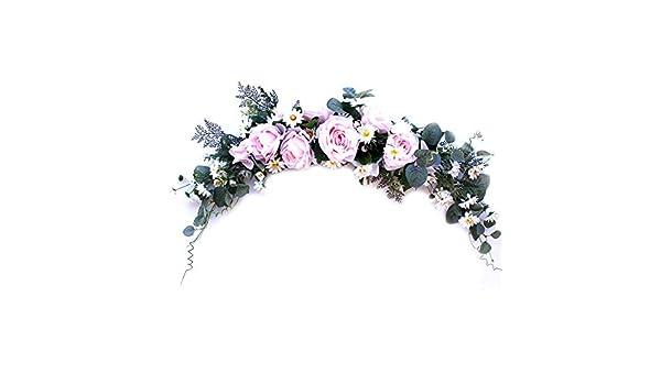 Wei/ß//Rosa // Violett rose Wand- und Fensterdekoration K/ünstlicher Lavendel-Kranz T/ür Blumen
