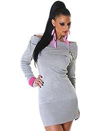 Jela London Damen Kleid Minikleid Pullover Carmen-Ausschnitt Langarm Reißverschluss Rollkragen Strasssteinchen Nieten