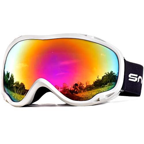 (Snowledge Skibrille Snowboard Brille Doppel-Objektiv OTG UV400 Schutz mit Anti-Beschlag, Skibrille Damen & Herren, Winddicht Ski-Schutzbrillen für Motorrad Fahrrad Skifahren Skaten, Helmkompatible)