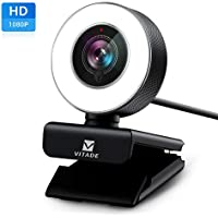 Webcam HD 1080P with Microphone & Ring Light -Vitade 960A USB Pro Computer Web Cam Video Camera for Mac Windows Laptop Gaming Xbox Skype OBS Twitch Youtube Xsplit Stream Video Calling and Recording