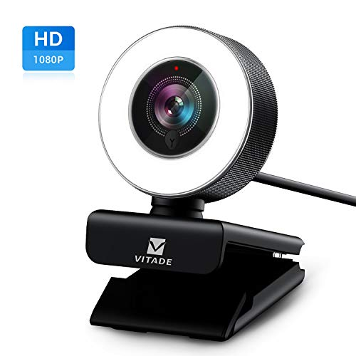 Webcam 1080P Full HD mit Mikrofon und Ringlicht, Vitade 960A Pro Computer PC USB Kamera Facecam für Streaming Video Chat Aufnahme, Mac Windows Laptop Konferenz Spiele Skype OBS Twitch YouTube Xsplit