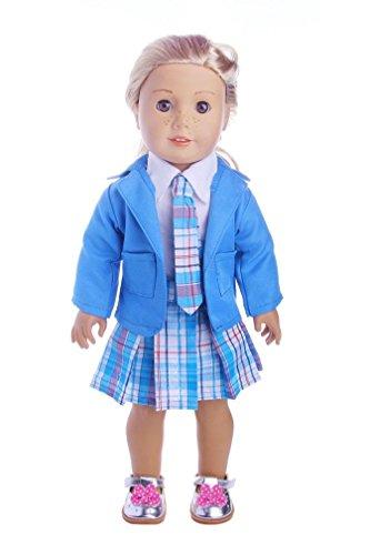 Prevently 4 Stück Anzug Student Kleidung 18 Zoll Shirt + Rock + Krawatte + Jacke American Girl Puppe Plaid Krawatte Plaid Rock Falten Kleid Uniformen (Blau) (Blaue Plaid-krawatte)