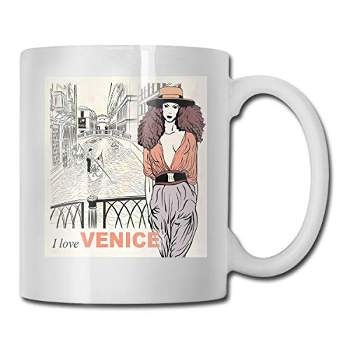 Jolly2T Funny Ceramic Novelty Coffee Mug 11oz,Young Fashion Girl On Bridge Over The Canal with Gondolas Sketch Art Italy City,Unisex Who Tea Mugs Coffee Cups,Suitable for Office and Home