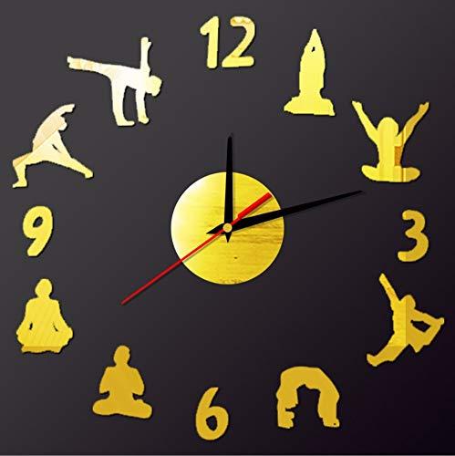 cmdyz Figura de Yoga números árabes DIY Reloj de Pared de diseño Moderno decoración para el hogar Reloj de Pared 3D Cuarzo Reloj Tranquilo Etiqueta Decorativa de la Pared
