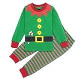 Mombebe Pijamas Navidad Niño Duende Infantil Inverno Ropa Set (Duende de Navidad, 6 años)
