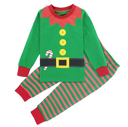 Mombebe Pigiama Bambino Natale Inverno Abbigliamento Set (Elfo di Natale, 4 Anni)