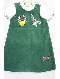 Girl 's grün Fleece Barbie Weihnachten Kleid & T Shirt–Alter 6Jahre