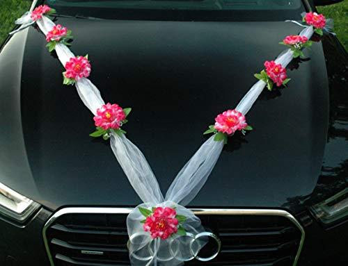 ZINNIE M Auto Schmuck Braut Paar Rose Deko Dekoration Autoschmuck Hochzeit Car Auto Wedding Deko Girlande PKW (Rosa)