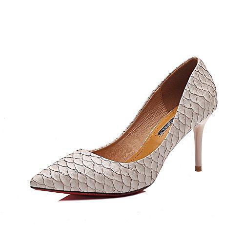 Bene con i tacchi alti scarpe a punta con tacchi alti fini crepe nella luce delle scarpe da donna Beige (8CM)