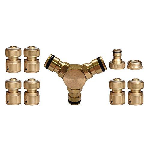 Nuzamas 3-Wege-Verbindungsstück, Messing, für Wasserschläuche, Schnellverbinder, 1/2-Zoll-, 3/4-Zoll-Stecker, Wasserhahn-Anschluss-Set zu 6 Stück -