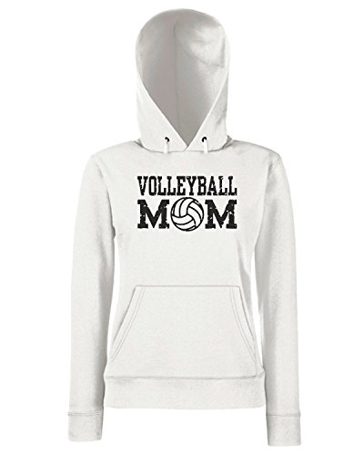 T-Shirtshock - Sweats a capuche Femme OLDENG00295 volleyball mom Blanc