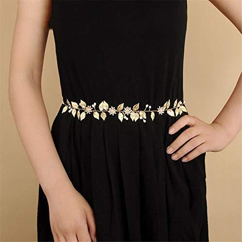 WYTSAA Gold verlässt Hochzeits-Perlen-Schärpe-Gurt-Kopfschmuck und Halsketten für Braut-Frauen-Bankett-Kleid-Dekorations-Gurte (Sie Fügen Gold Eine Perlen-halskette)