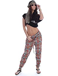Damen Hippie Goa Ballon Hose Haremhose Sommerhose Stoffhose Pluder Retro 34 36 38 One Size