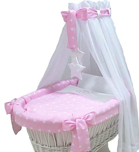 Babymajawelt® Ersatz Bett Set für Stubenwagen - 7 Teile, Bettwäsche, Nestchen, Himmel, Steppbett, Spannbetttuch (ohne Stubenwagen) (Stars rosa) - Komplettes Bett Set