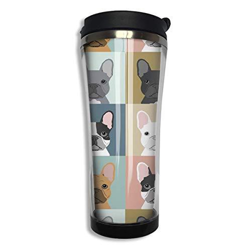 Stainless Tumbler Travel Mug French Bulldog Pattern Gift Food Grade ABS Mug Insulated Both Cold & Hot Beverage Cup -420 Ml Men,Women - French White-mug