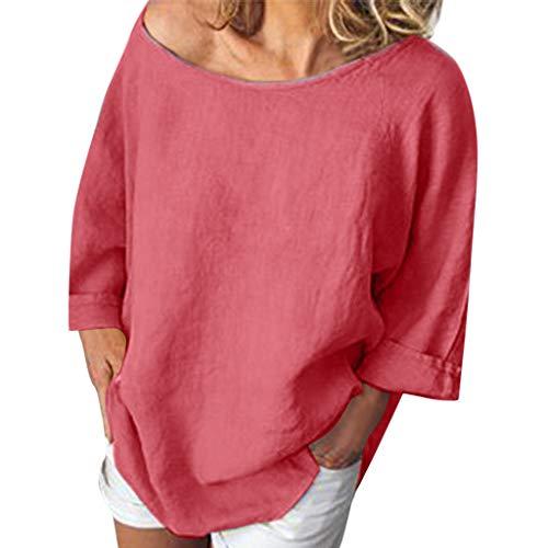 VJGOAL Bluse Damen Elegant Sommer Kurzarm Tops Frauen Einfarbig Lose Baumwolle und Leinen Shirt 7 Farbe 6 Größe (Jumpsuit Style Womens 70s)
