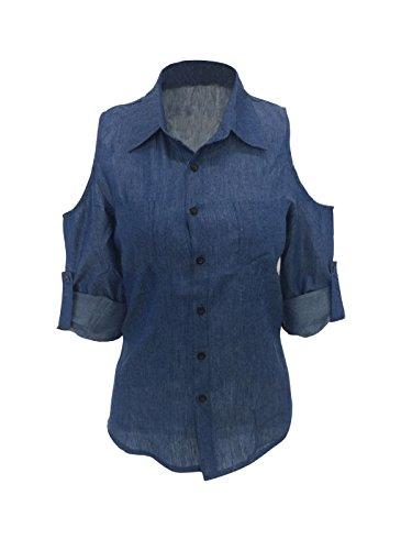 Damen Langarm Bluse, FGHYH Damen Schulterfrei Blaue Jeans Baumwolle Denim Langarm Shirt Tops Bluse(M, Blau) -