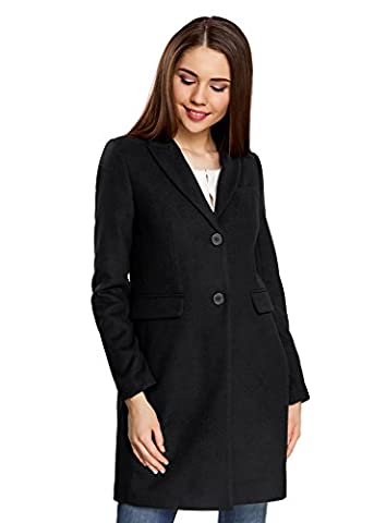 oodji Ultra Femme Manteau Classique Coupe Droite, Noir, FR 44 / XL