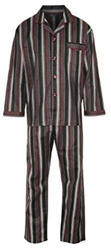 Herren Baumwoll-Pyjamas Gestreift Langarmhemd mit Hose, Größe ist Mittel und farben ist Weinrot (Hose Baumwolle Gebürstete Pyjama)