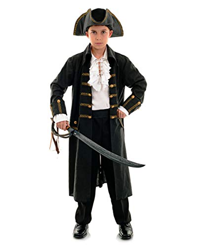 Horror-Shop Piraten Kinderkostüm Captain Black für Fasching & Halloween S
