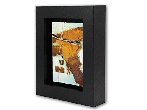 Rost-rahmen (Bild abstrakt mit Rahmen modern Rost-Art Malerei Kunst Original Acryl Gemälde ca.23x18 cm)