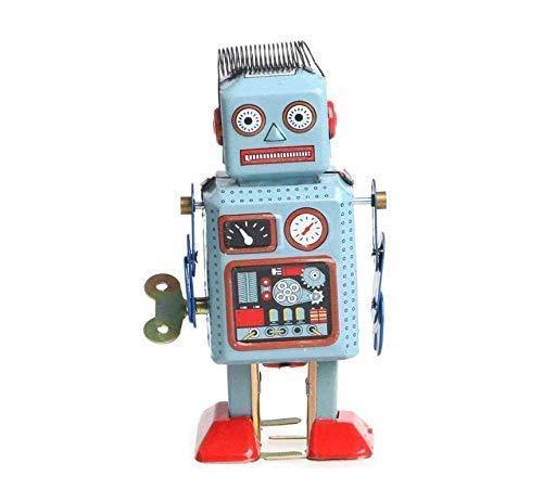 Gwill Zinn Metall Vintage Mechanische Uhrwerk Wind-up Walking Robot Key Spielzeug Kinder Geschenk Sammlung
