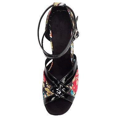 XIAMUO Women's Latin Ballroom Salsa Dance Schuhe Satin Paillette Sandalen angepasste Ferse Professional/innen schwarz Blume Schwarz