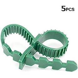 KINGLAKE 5 Stück Pflanzenbinder Verstellbar 35 cm, Kunststoff Kabelbinder Pflanzen Draht Pflanzenklammern