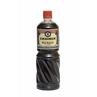 [ 6x 1000ml ] Sojasauce KIKKOMAN Soja Sauce Soy Sauce + ein kleines Glückspüppchen - Holzpüppchen