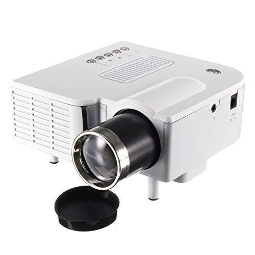 Mini Projecteur Portable Maison Cinéma - UC28 + Vidéoprojecteur 1080P Full HD LED 2 en 1 3D Projecteur AV VGA USB HDMI (Blanc)