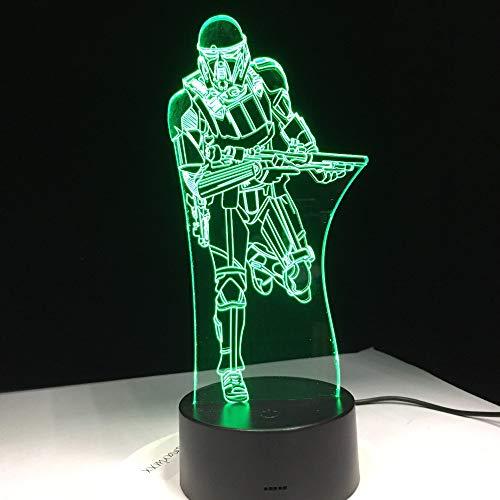 (Mddjj Film Figures Trooper Soldier 3D Nachtlicht Acryl Led Tischleuchte Mit Touch Fernbedienung Halloween Weihnachten Familiengeschenk Schlafzimmer Licht)