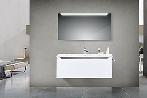 Badmöbel Set mit Waschtisch 120 cm Grau Hochglanz Griffleiste