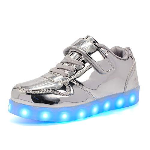 Junge Mädchen 110 Farbe USB Aufladen LED Schuhe Leuchtend Sportschuhe Farbwechsel Sneaker Turnschuhe für Junge Mädchen Geburtstagsgeschenk ()