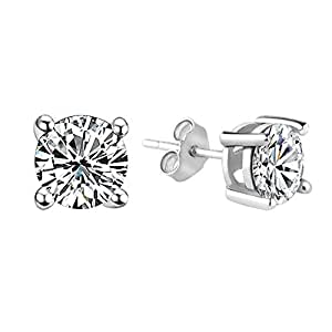 [Abfertigung]Classic Sterling Silver Earring Studs with Brilliant AAA class Cubic Zircon CZ Stone 5MM