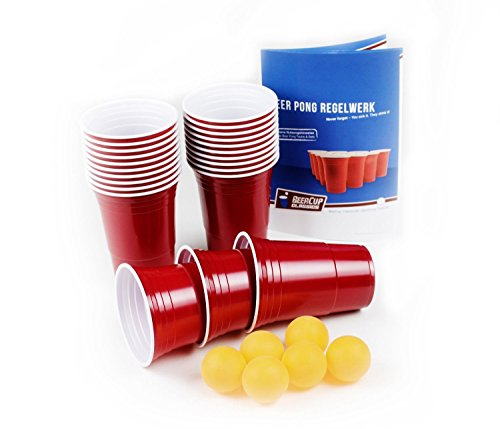 100 Rote Becher, Red Party Beer Pong Cups 16 oz. 473 ml rot inkl. 6 Beer Pong Bälle und Beer Pong Regelwerk -